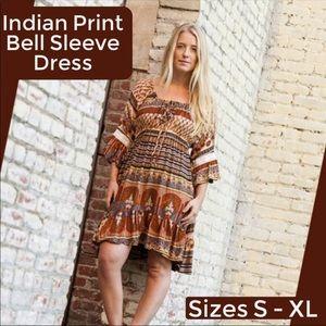 Jayli Indian Print Bell Sleeve Rayon Midi Dress
